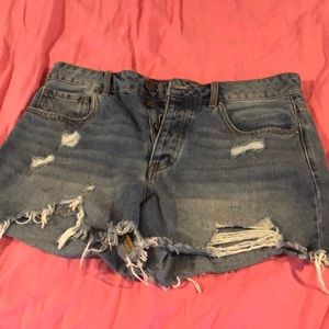 High waisted distressed jean shorts size 26
